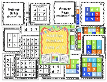 Sums of 10 Blockout {Common Core Math Fluency Game}