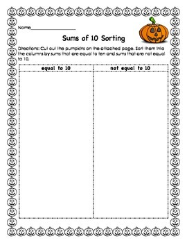Sums of 10 Sorting: Pumpkin Themed