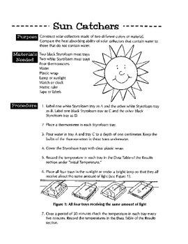 Sun Catchers (Experiment in solar heat absorption)