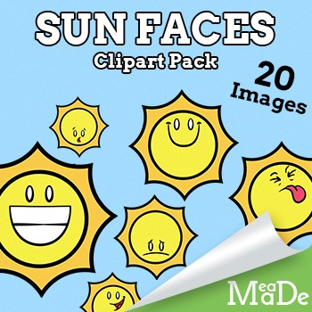 Sun Clipart - Cute Sun Faces