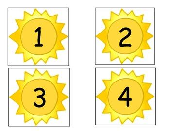 Sun Number Cards/Calendar Cards