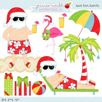 Sun Tan Santa - Cute Digital Clipart, Christmas Graphics