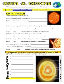 Sun and Moon Webquest  (Internet Assignment)