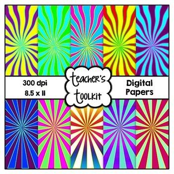 Sunbursts Digital Background Papers {8.5 x 11} Clip Art CU OK