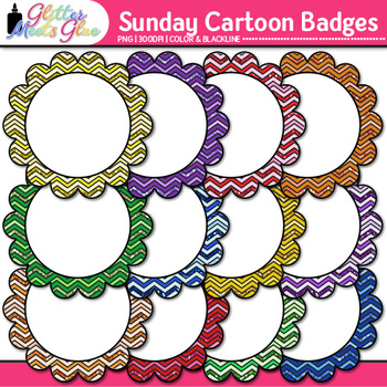 Sunday Morning Cartoons Frame Clip Art {Rainbow Glitter La