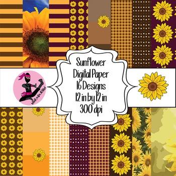 Sunflower Digital Paper- 16 Designs- 12 by 12- 300 dpi