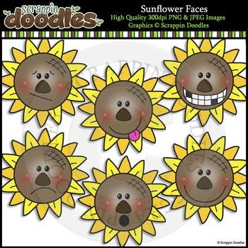 Sunflower Faces Clip Art & Line Art