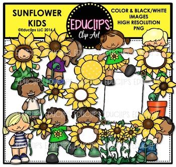 Sunflower Kids Clip Art Bundle