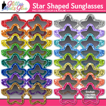 Star Sunglasses Clip Art {Summer Beach Graphics for Bullet