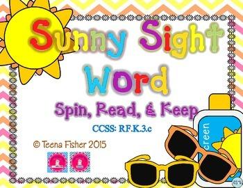 Sunny Sight Word Spin, Read, & Keep Pre-Primer Kindergarten List