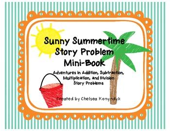 Sunny Summertime Math Story Problems Mini-Book