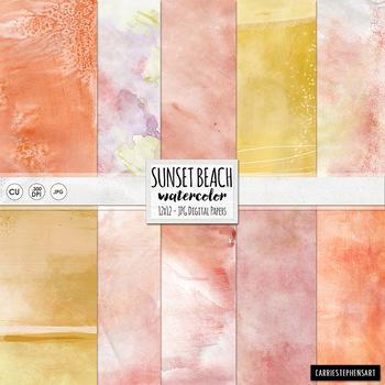 Pink, Orange and Yellow, Sunset Beach Watercolor Digital P