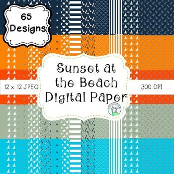 Sunset at the Beach Digital Paper (navy, aqua, orange, tan
