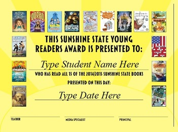 Sunshine State Young Readers Award Certificate