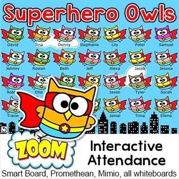Superhero Owls Theme Attendance for All Interactive Whiteb