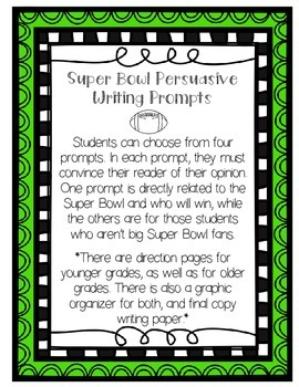 Super Bowl {Football} Persuasive/Opinion Writing Prompts (