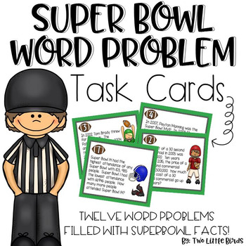 Super Bowl Word Problem Task Cards