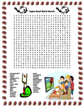 Super Bowl Word Search- Harder 29 Words