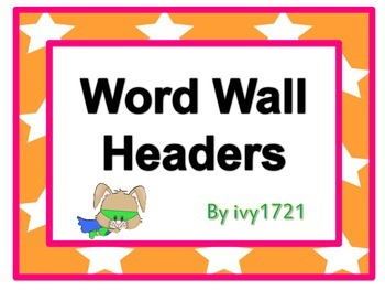 Super Bunny Word Wall Headers