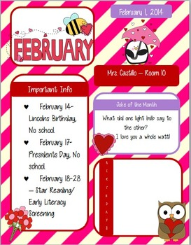 Super Cute February Newsletter