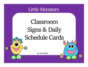 Super Cute Little Monster Master Schedule Cards and Classr