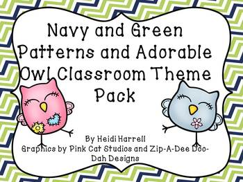 Super Cute Owls and Green and Navy Geometric Patterns Huge