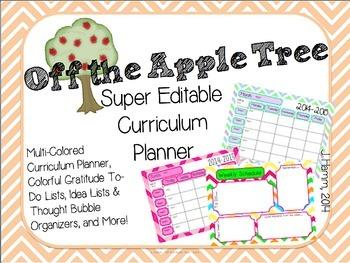 Super Editable Curriculum Planner! Multi-Colored Multi-Pac
