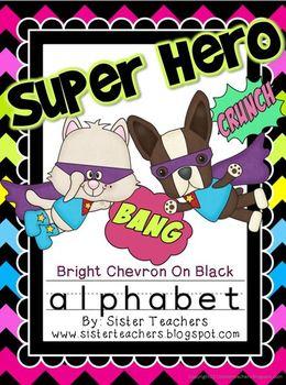 Super Hero Alphabet {Bright Chevron on Black background}