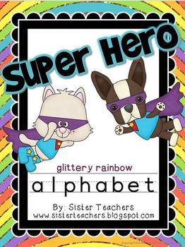 Super Hero Alphabet {Glittery Rainbow Background}