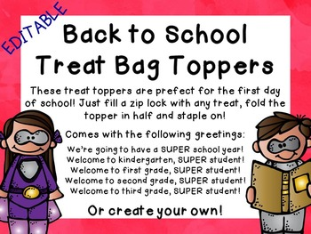 Super Hero Back to School Treat Topper
