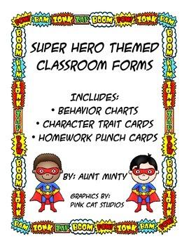 Super Hero Behavior Chart, Homework Chart, Character Trait Cards
