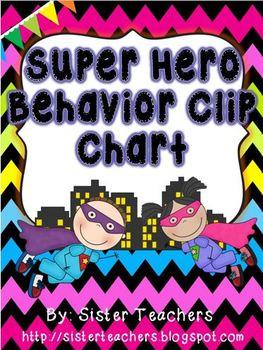 Super Hero Behavior Clip Chart {Bright Chevron on Black Ba