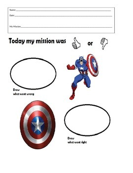 Super Hero Behavior sheet- Captain America Think Sheet