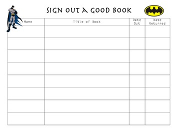 Super Hero Book Sign-Out Sheet