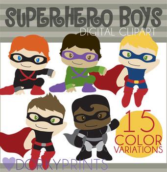 Super Hero Boys Digital Clip Art