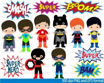 Super Hero Clip Art school halloween decor comic book birt