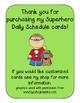 Super Hero Daily Schedule Cards