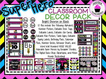 Super Hero Classroom Decor Pack ~Bright Chevron on Black~
