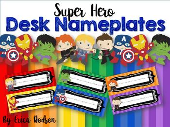 Super Hero Desk Nameplates EDITABLE FREEBIE!