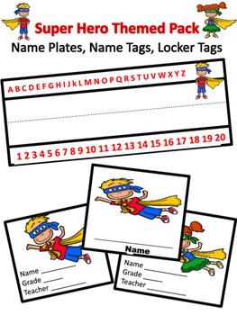 Super Hero Desk Plates, Name Tags, and Locker Tags
