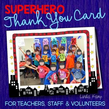 Superhero End of Year Editable Class Thank You Card