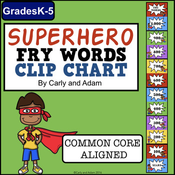 Super Hero Fry Words Clip Chart