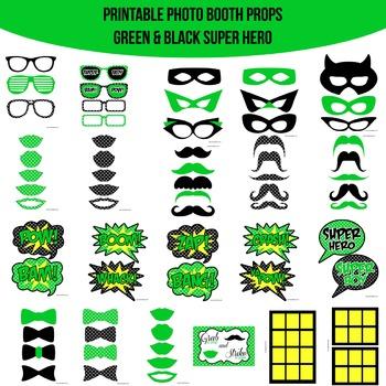 Super Hero Green Printable Photo Booth Prop Set