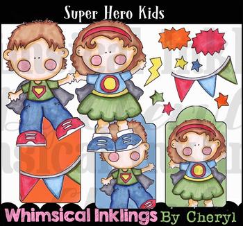Super Hero Kids Clipart Colletion
