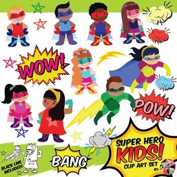 Super Hero Kids and Frames Clip Art Set