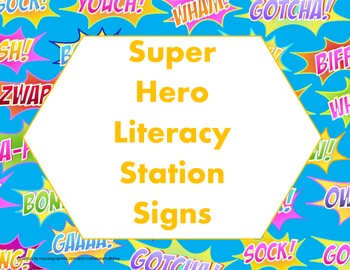 Super Hero Literacy Station Signs