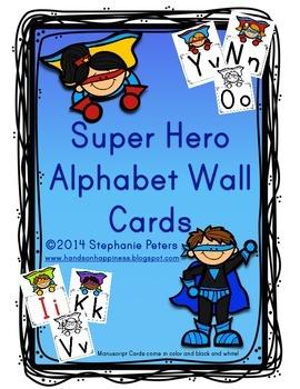 Super Hero Manuscript Alphabet Line ~ Color/Black and White
