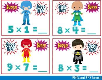 Super Hero Math Clip Art school mathematics Multiplication