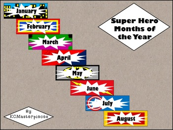 Super Hero Months of the Year