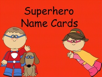 Super Hero Name Cards